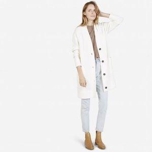 Everlane the Chunky Wool Cardigan Coat Bone White
